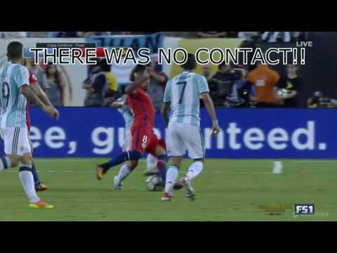 Red Cards Argentina vs Chile 2016 Copa America Final  - Did the referee mess up???