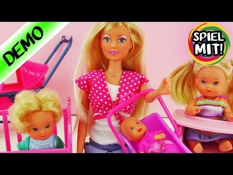 Steffi Love Baby World - Mama mit 3 kleinen Kindern, Babybett, Hochstuhl und Dreirad