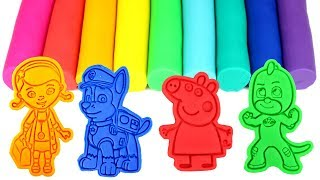 Play Doh Fun with Cartoon Character Molds Learn Colors with Rainbow Play Doh Colors Modelling Clay