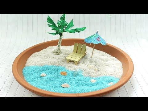 DIY Miniaturstrand selber machen | schöne Deko Idee im Sommer