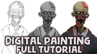 Digital Painting Tutorial - Sketch To Greyscale Values To Colour