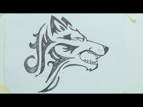 How to draw a tribal wolf head tattoo رسم ذئب #1