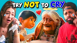 Adults React To Try Not To Cry Challenge | Saddest Animations
