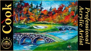 The Masters Hole 12 Golf Course Acrylic Painting Tutorial for Beginner and Advanced Artists