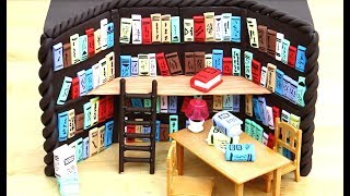 CHOCOLATE Library Cake With Miniature Books - How To Make