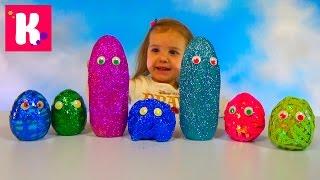 Смешные заводные животные / Яйца с глазками и блёстками / Обзор игрушек