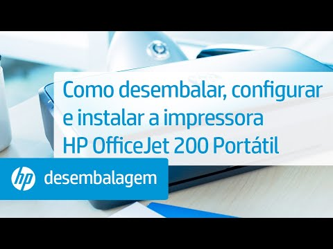 Como desembalar, configurar e instalar a impressora HP OfficeJet 200 Portátil