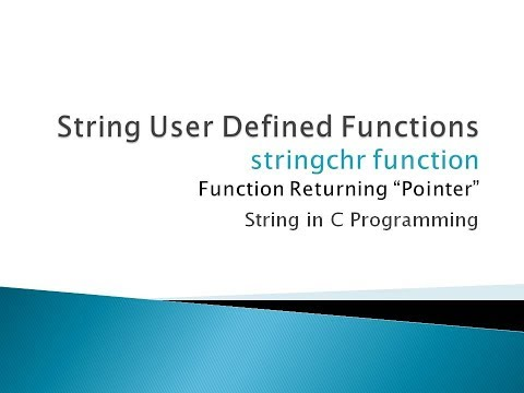 110 - Find Character in String | User Defined Function | String in C