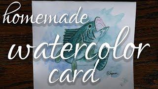 DIY Watercolor Card: Bass fish for my Boss's Birthday