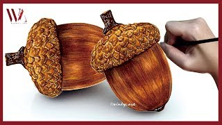 How to Paint an Acorn in Watercolor- Windy Shih