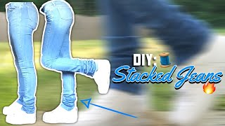 HOW TO: STACKED JEANS FOR BEGINNERS (no Sewing Machine Needed)🧵🔥| Niijanay