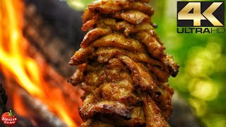 Gyros On a Rope (4K)  - Primitive Cooking ASMR - Must See!