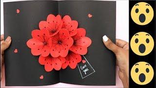 POP UP FLOWER CARD : 3D Card : Pop Up Card : DIY