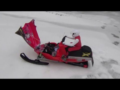 Rc Snowmobile On Bmx Track Skidoo New Bright Brushless 111 Big Jumps And Slow