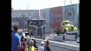 Detroit Powered '84 Freightliner COE Vs. Detroit Powered '48 GMC AD-950 At Truckin' For Kids 2012
