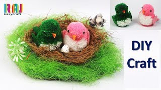 Room Decor Art And Craft || Beautiful Woolen Birds Making At Home || Cool Craft Idea