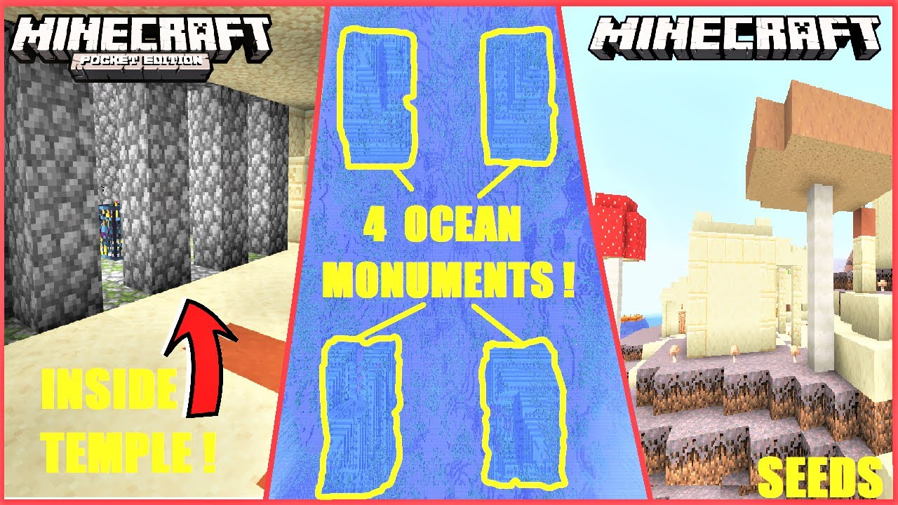 Minecraft Bedrock & Java Edition Seeds - QUADRUPLE Ocean Monument AT SPAWN ! And More RARE Seeds ! MINECRAFT SEED -1900341941