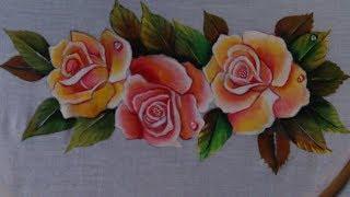 Fabric Painting. Painting. Fabric Painting Roses On Dresses.