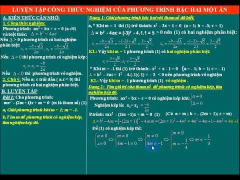 Toán 9. Luyện tập công thức nghiệm của phương trình bac hai một ẩn