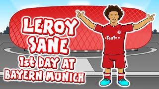 🔴LEROY SANE's 1st Day at Bayern Munich!🔴 (Sane signs for FC Bayern Munchen)