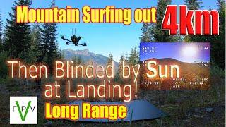 Blinding Sun Landing after 4km Mountain Surfing FPV Long Range Flight at Bearpaw Mountain
