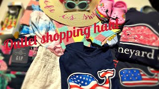 Summer Outlet shopping haul. Vineyard Vines, Gap, Gymboree Disney Store & more