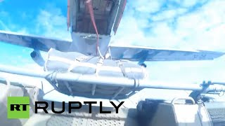 Go-Pro Tank Free Fall: Russia air-drops BMD-2 infantry fighting vehicles