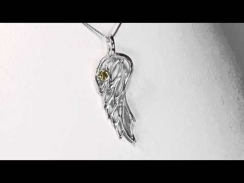 Sterling Silver and Yellow Diamond Angel Wing Pendant