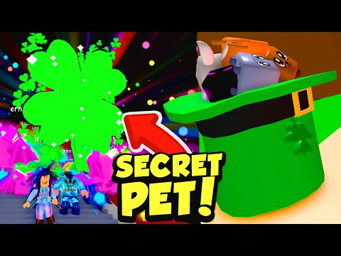 Using a SECRET ULTIMATE CLOVER PET to get the LUCKY TOPHAT PET in Roblox Bubble Gum Simulator!