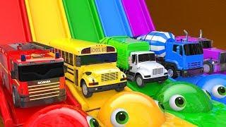 Learn Colors PACMAN VS Watermelon Magic Slide and Farm SuperHero Street Vehicle for Kid