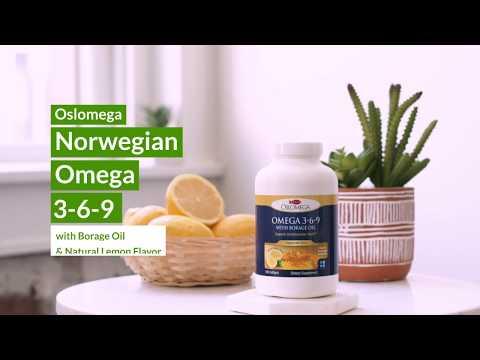 Oslomega, норвежская серия, омега 3-6-9 с маслом бурачника, лимонный вкус, 180капсул из рыбьего желатина