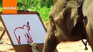 Smart Elephant Makes Self-Portrait Painting (Storyful, Wild Animals)