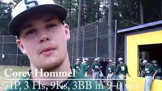 preview picture of video 'Post Game Shen at Ballston Spa Shen senior pitcher Corey Hommel April 14'