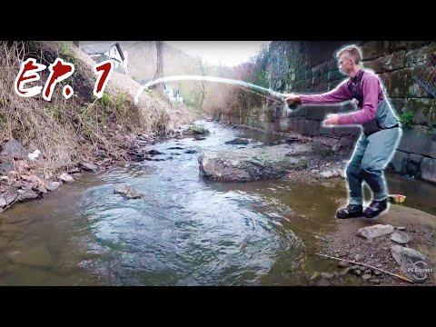 Fiskeri efter bækørreder i en lille å