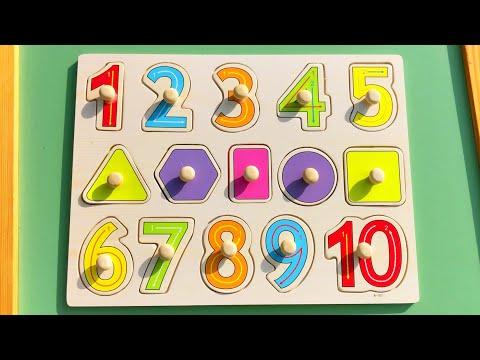 Учим Цифры и Фигуры для детей | Учимся считать от 1 до 10 с досочкой вкладкой