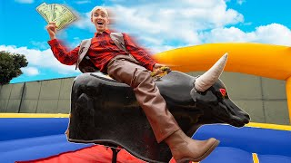 LAST TO FALL OFF MECHANICAL BULL WINS $10,000!! (New Mystery Neighbor Friend Reveal)