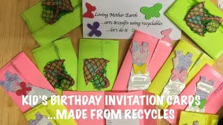 DIY Kids Birthday Invitation Cards Using Only Recyclable Materials | Invitation Cards || Minesview