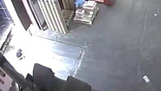 Man almost crushed by semi truck.