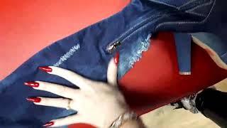 Джинсовые крутые женские  сапоги ботфорты, высокие темные - видео 1