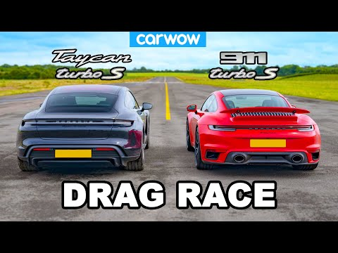 New Porsche 911 Turbo S vs Taycan Turbo S: DRAG RACE!
