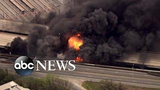 Fiery highway collapse in Atlanta