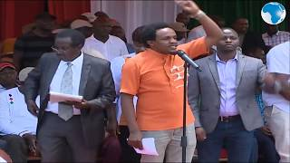 Zack Kinuthia speaks on behalf of the Youth at the BBI rally in Meru