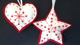 Beaded Felt Star And Heart, Felt Christmas Ornaments, How To Diy, Sewing For Beginners