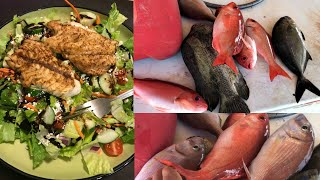 Catch and Cook - Blackened Snapper Salad on the Grill!