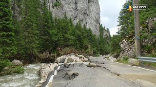 Inundaţii: circulaţia temporar afectată de aluviuni şi arbori căzuţi pe carosabil