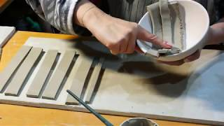 64. How To Make Ceramic Bowl With Clay Strips - Slab Method - Without A Pottery Wheel-handmade Only