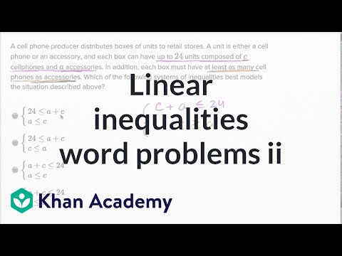 Systems of linear inequalities word problems \u2014 Harder example (video