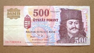 500 Hungarian Forint Banknote (Five Hundred Hungarian Forint / 2002) Obverse & Reverse