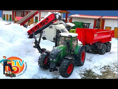BRUDER TOYS RC Traktor Fendt Vario snow transport!