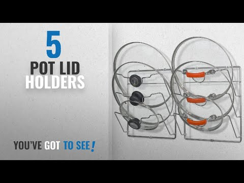 Top 10 Pot Lid Holders [2018]: 2 Pack - SimpleHouseware Cabinet Door / Wall Mount Pot Lid Organizer